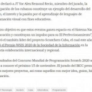 IKCC in Cuba press article